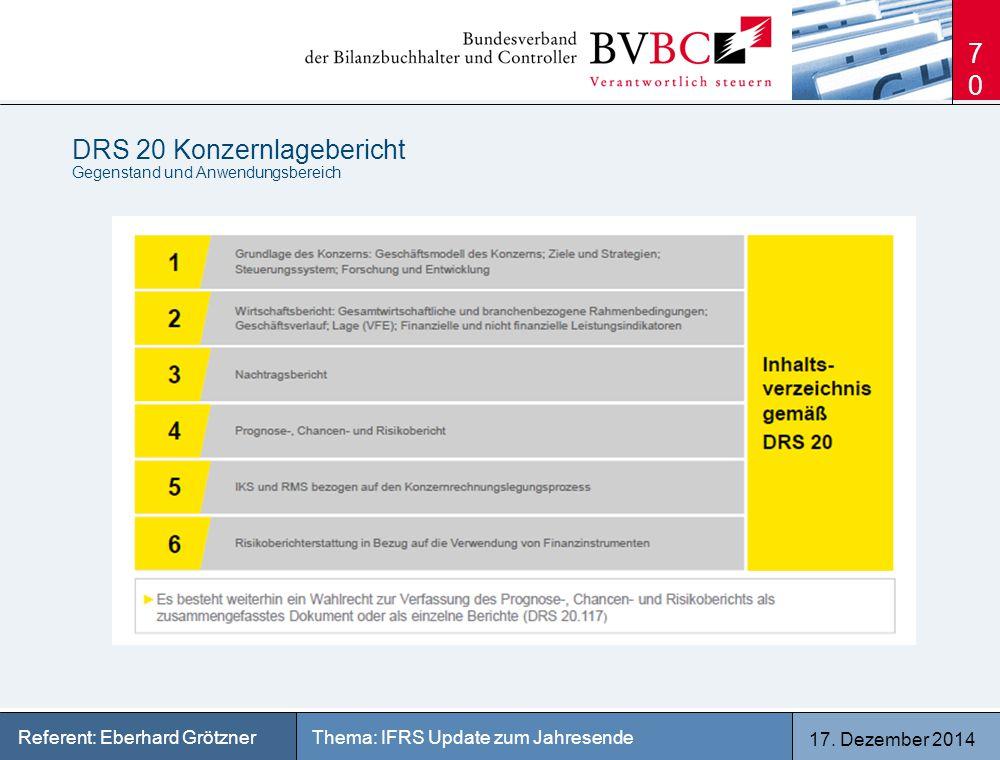 17. Dezember 2014 Thema: IFRS Update zum JahresendeReferent: Eberhard Grötzner DRS 20 Konzernlagebericht Gegenstand und Anwendungsbereich 70