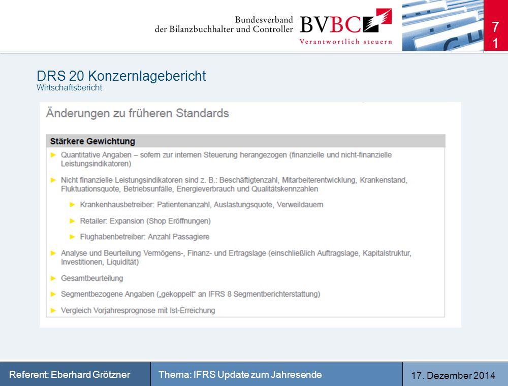 17. Dezember 2014 Thema: IFRS Update zum JahresendeReferent: Eberhard Grötzner DRS 20 Konzernlagebericht Wirtschaftsbericht 71