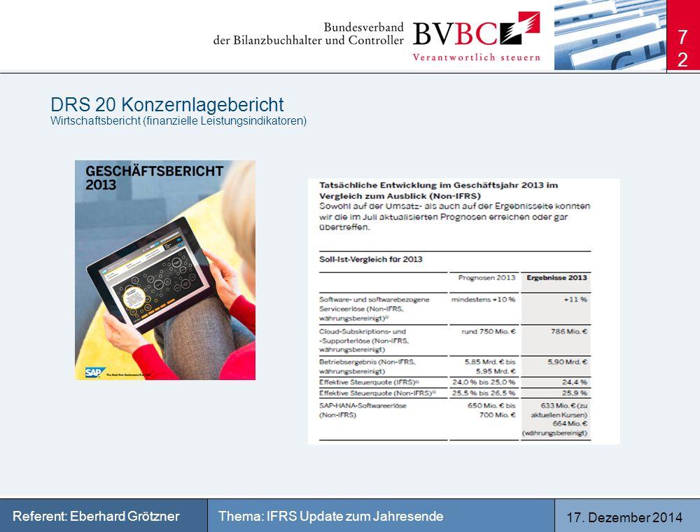 17. Dezember 2014 Thema: IFRS Update zum JahresendeReferent: Eberhard Grötzner DRS 20 Konzernlagebericht Wirtschaftsbericht (finanzielle Leistungsindi