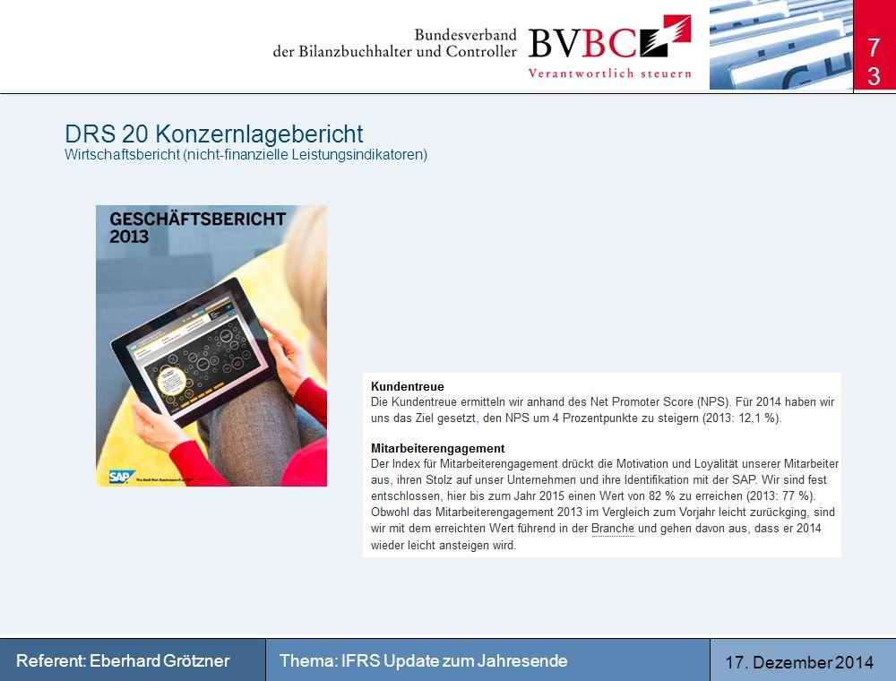 17. Dezember 2014 Thema: IFRS Update zum JahresendeReferent: Eberhard Grötzner DRS 20 Konzernlagebericht Wirtschaftsbericht (nicht-finanzielle Leistun