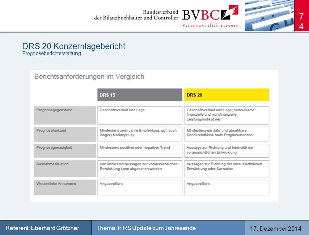 17. Dezember 2014 Thema: IFRS Update zum JahresendeReferent: Eberhard Grötzner DRS 20 Konzernlagebericht Prognoseberichterstattung 74