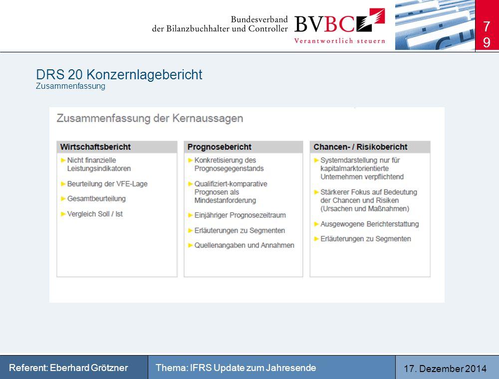 17. Dezember 2014 Thema: IFRS Update zum JahresendeReferent: Eberhard Grötzner DRS 20 Konzernlagebericht Zusammenfassung 79