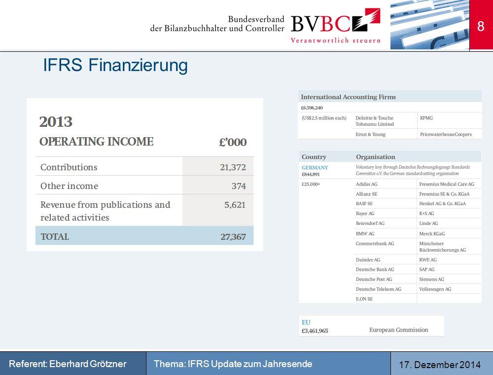 17. Dezember 2014 Thema: IFRS Update zum JahresendeReferent: Eberhard Grötzner IFRS Finanzierung 8