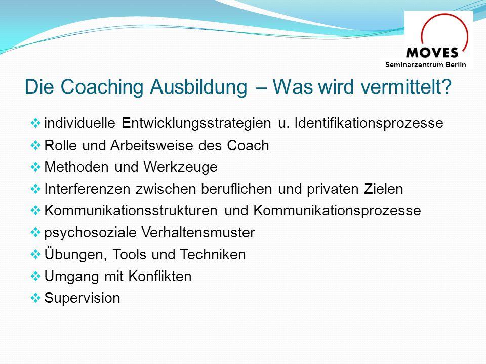 Einsatzgebiete von Coaching  Führungskräfte Coaching  Team – Coaching  Coaching in Vorbereitung einer neuen Position  Coaching in Konfliktsituationen - beruflich und privat  Coaching von High Potentials und Nachwuchs Seminarzentrum Berlin