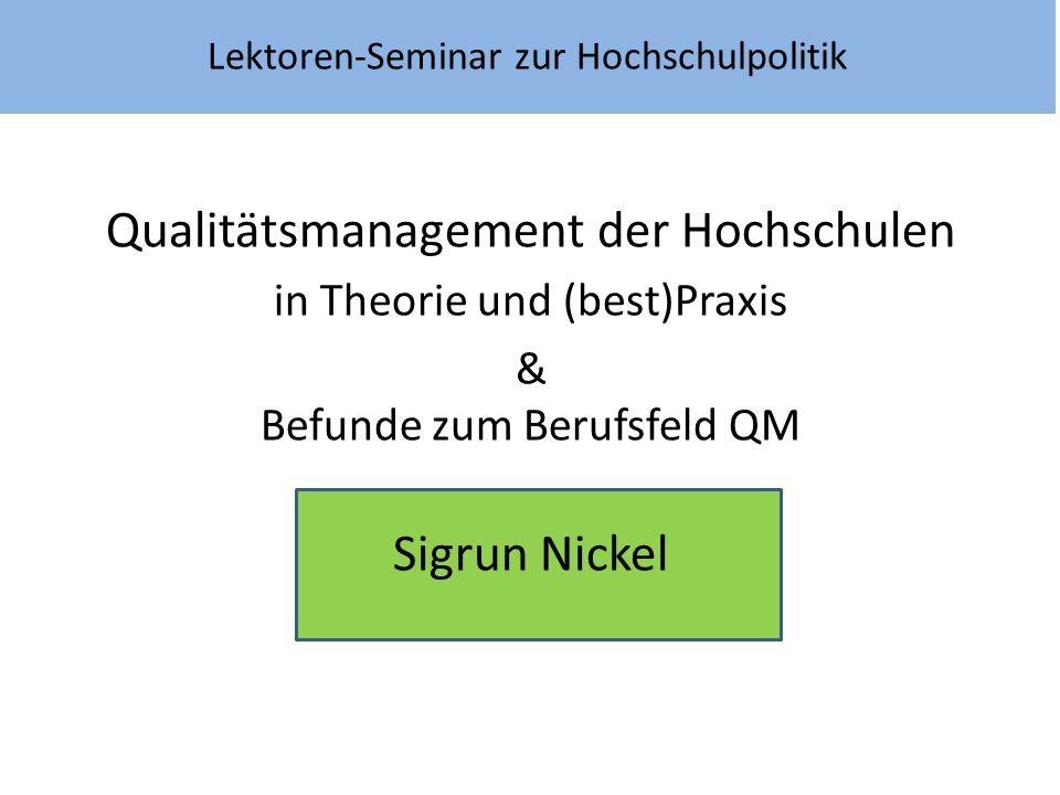 Lektoren-Seminar zur Hochschulpolitik Qualitätsmanagement der Hochschulen in Theorie und (best)Praxis & Befunde zum Berufsfeld QM Sigrun Nickel