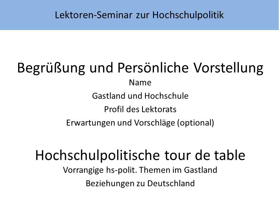 Begrüßung und Persönliche Vorstellung Name Gastland und Hochschule Profil des Lektorats Erwartungen und Vorschläge (optional) Hochschulpolitische tour