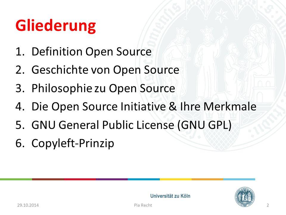 Gliederung 1.Definition Open Source 2.Geschichte von Open Source 3.Philosophie zu Open Source 4.Die Open Source Initiative & Ihre Merkmale 5.GNU Gener