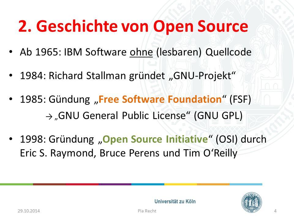 """2. Geschichte von Open Source Ab 1965: IBM Software ohne (lesbaren) Quellcode 1984: Richard Stallman gründet """"GNU-Projekt"""" 1985: Gündung """"Free Softwar"""