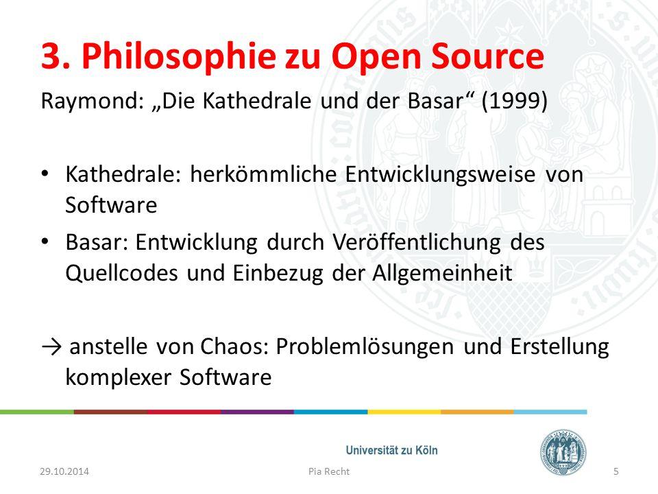"""3. Philosophie zu Open Source Raymond: """"Die Kathedrale und der Basar"""" (1999) Kathedrale: herkömmliche Entwicklungsweise von Software Basar: Entwicklun"""