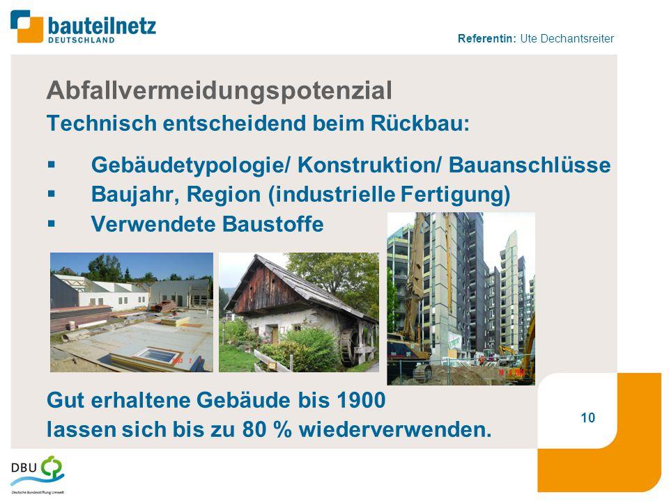 Referentin: Ute Dechantsreiter 10 Abfallvermeidungspotenzial Technisch entscheidend beim Rückbau:  Gebäudetypologie/ Konstruktion/ Bauanschlüsse  Baujahr, Region (industrielle Fertigung)  Verwendete Baustoffe Gut erhaltene Gebäude bis 1900 lassen sich bis zu 80 % wiederverwenden.