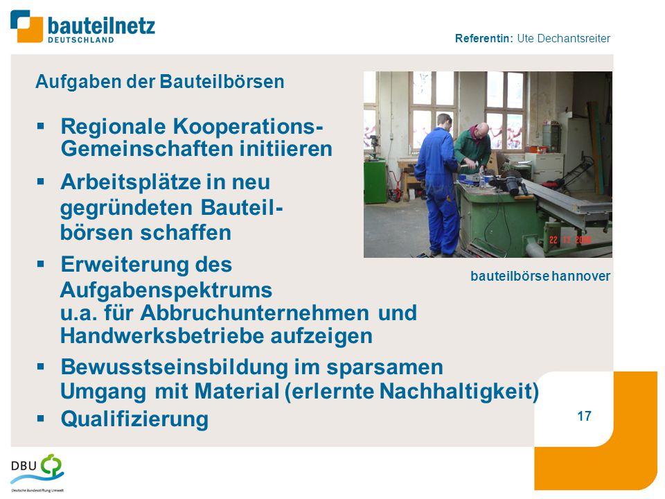 Referentin: Ute Dechantsreiter 17 Aufgaben der Bauteilbörsen  Regionale Kooperations- Gemeinschaften initiieren  Arbeitsplätze in neu gegründeten Bauteil- börsen schaffen  Erweiterung des Aufgabenspektrums u.a.