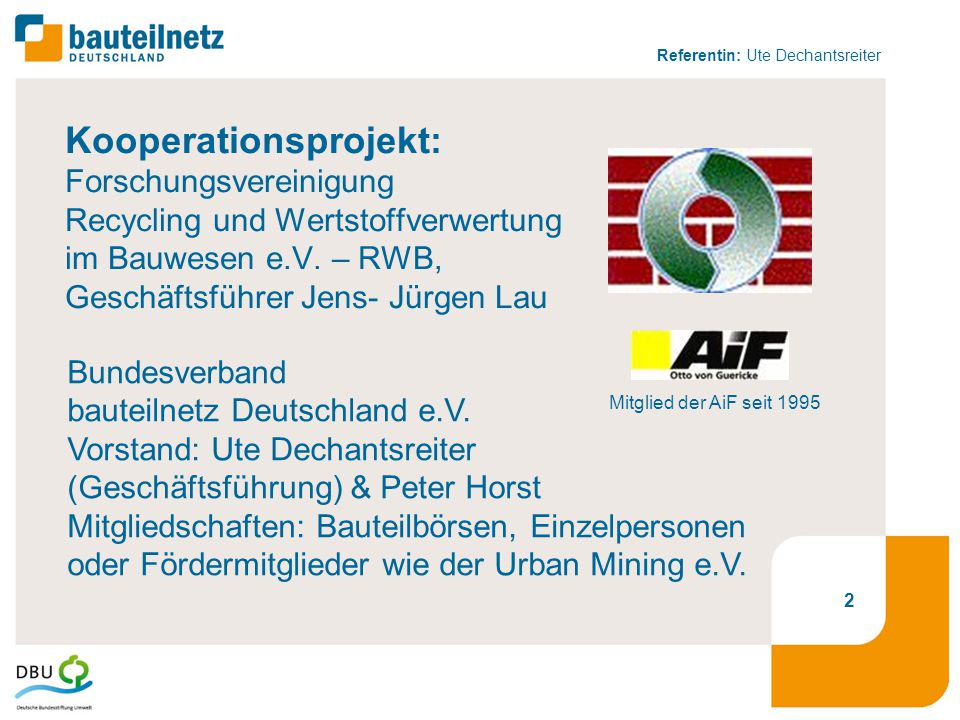 """Referentin: Ute Dechantsreiter 13 """"Wiederverwendung statt Weiterverwertung möglichst viele gute, gebrauchte Bauteile wieder in den Kreislauf der Bauwirtschaft bringen."""