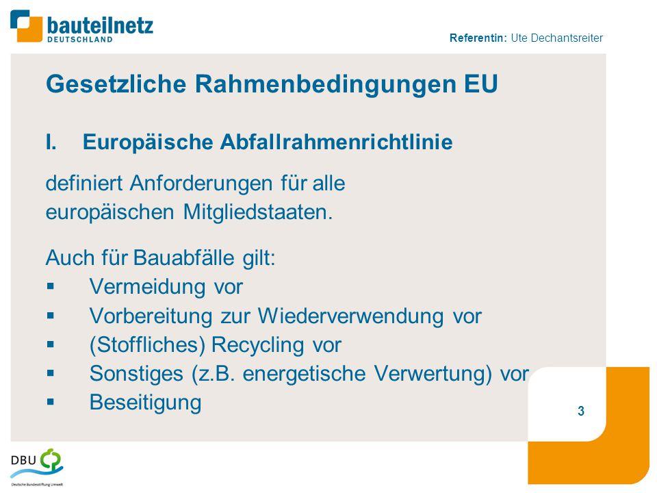 Referentin: Ute Dechantsreiter Gesetzliche Rahmenbedingungen EU I.Europäische Abfallrahmenrichtlinie definiert Anforderungen für alle europäischen Mit