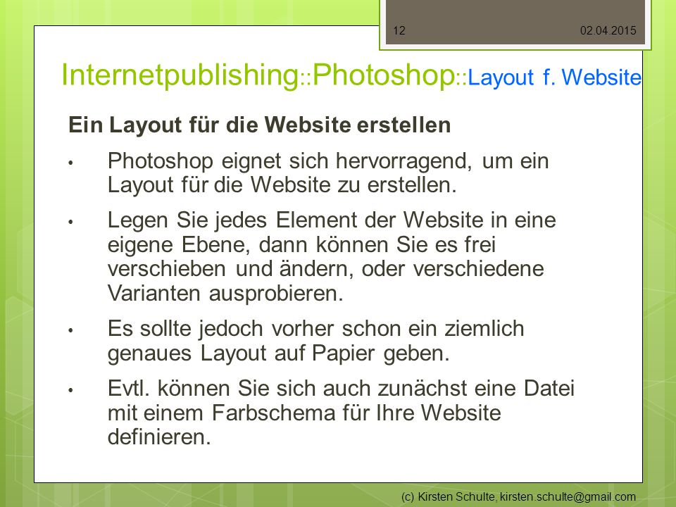 Internetpublishing :: Photoshop ::Layout f.