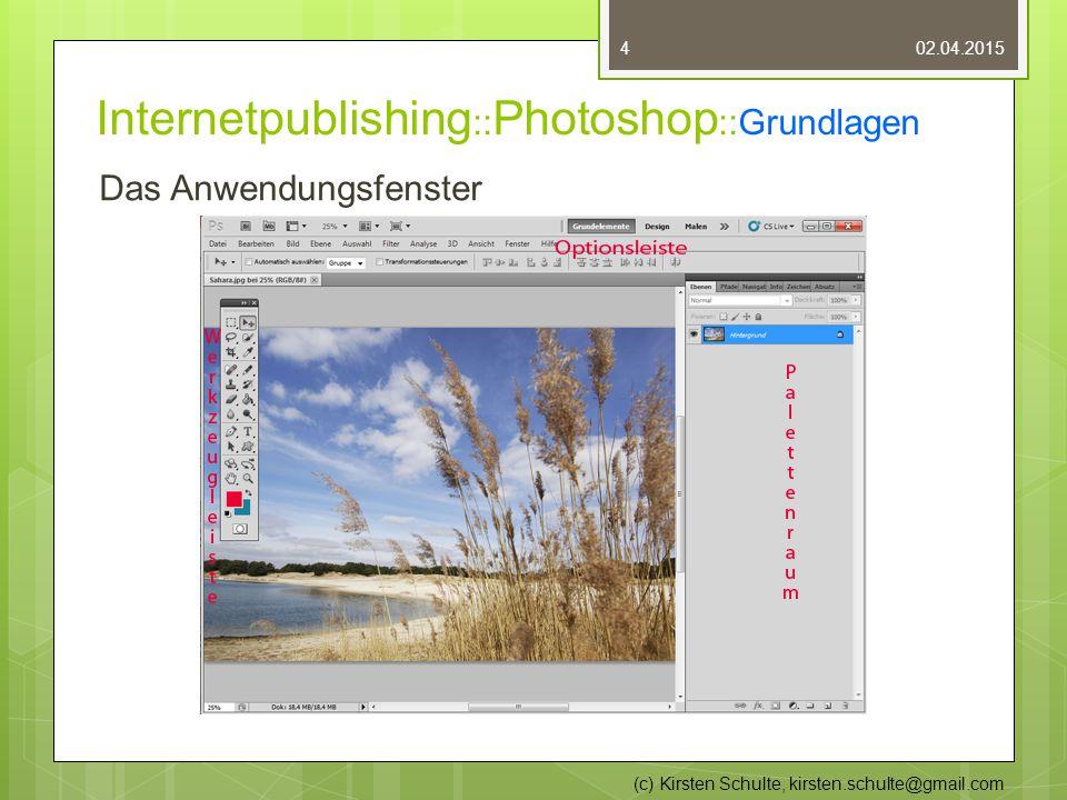 Internetpublishing :: Photoshop ::Grundlagen Das Anwendungsfenster 02.04.2015 (c) Kirsten Schulte, kirsten.schulte@gmail.com 4