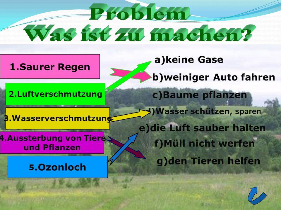 1.Saurer Regen 3.Wasserverschmutzung 2.Luftverschmutzung 4.Aussterbung von Tiere und Pflanzen 5.Ozonloch a)keine Gase b)weiniger Auto fahren c)Baume p