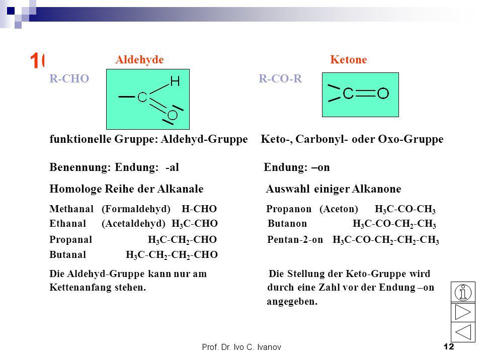 Prof. Dr. Ivo C. Ivanov12 10. Aldehyde und Ketone: Grundlagen Aldehyde Ketone R-CHO R-CO-R funktionelle Gruppe: Aldehyd-Gruppe Keto-, Carbonyl- oder O
