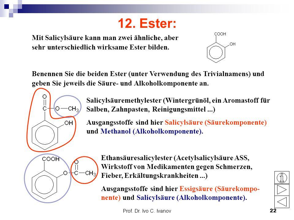 Prof. Dr. Ivo C. Ivanov22 12. Ester: Mit Salicylsäure kann man zwei ähnliche, aber sehr unterschiedlich wirksame Ester bilden. Benennen Sie die beiden