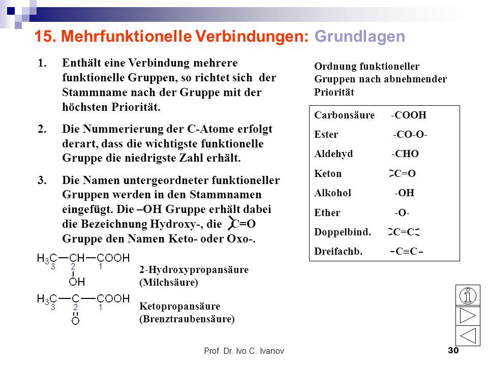 Prof. Dr. Ivo C. Ivanov30 15. Mehrfunktionelle Verbindungen: Grundlagen 1.Enthält eine Verbindung mehrere funktionelle Gruppen, so richtet sich der St