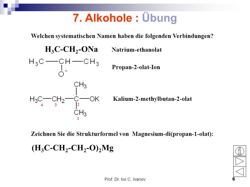 Prof. Dr. Ivo C. Ivanov6 7. Alkohole : Übung Welchen systematischen Namen haben die folgenden Verbindungen? Zeichnen Sie die Strukturformel von Magnes