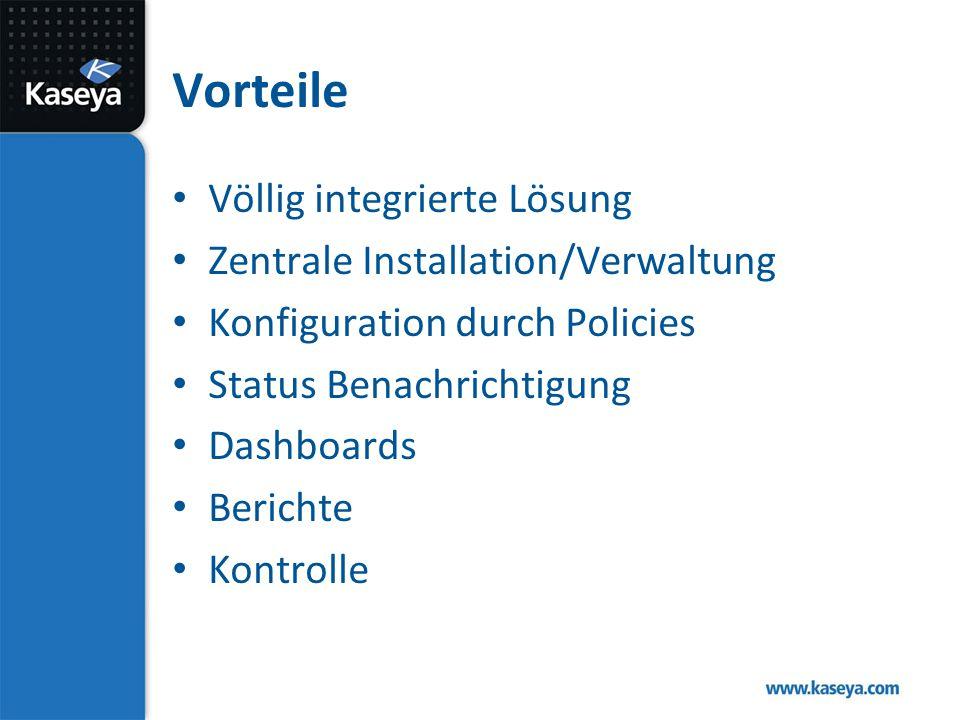 Vorteile Völlig integrierte Lösung Zentrale Installation/Verwaltung Konfiguration durch Policies Status Benachrichtigung Dashboards Berichte Kontrolle