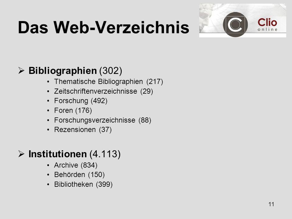 11 Das Web-Verzeichnis  Bibliographien (302) Thematische Bibliographien (217) Zeitschriftenverzeichnisse (29) Forschung (492) Foren (176) Forschungsverzeichnisse (88) Rezensionen (37)  Institutionen (4.113) Archive (834) Behörden (150) Bibliotheken (399)