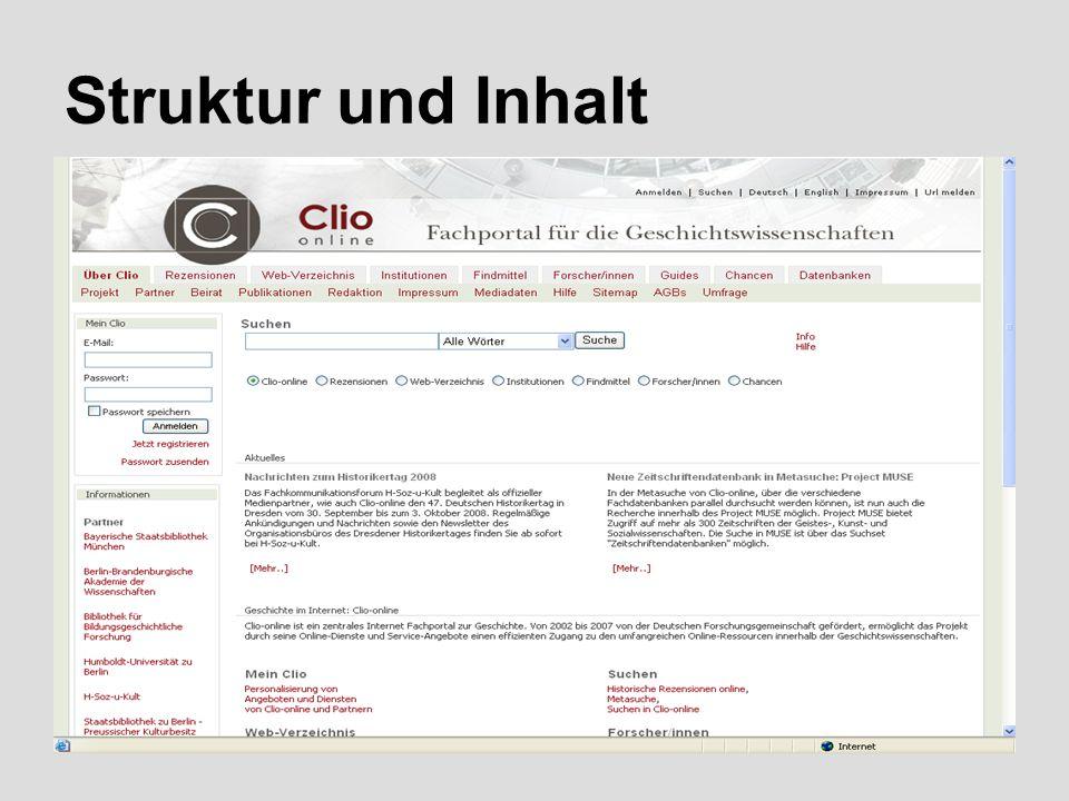 5  Globales Navigationsmenü rechts oben mit Anmeldefunktion, Suche, Spracheinstellung (dt./engl.), Impressum und URL- Anmeldemöglichkeit  Horizontales Menü mit den Hauptkategorien  Jede Kategorie besteht wiederum aus zahlreichen Untermenüpunkten