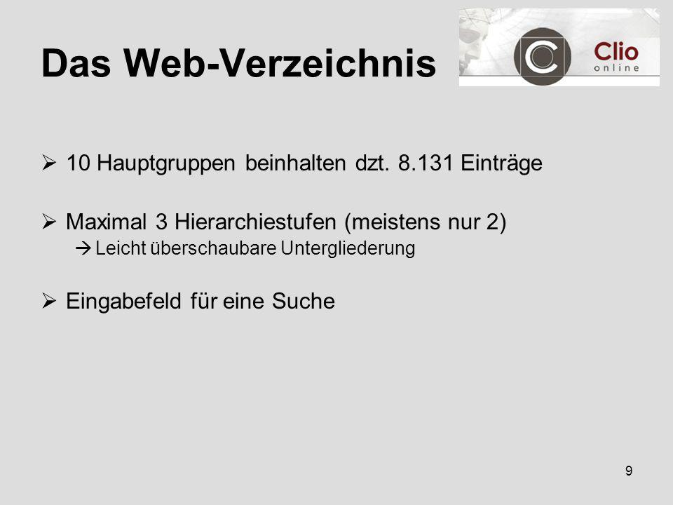 9 Das Web-Verzeichnis  10 Hauptgruppen beinhalten dzt.