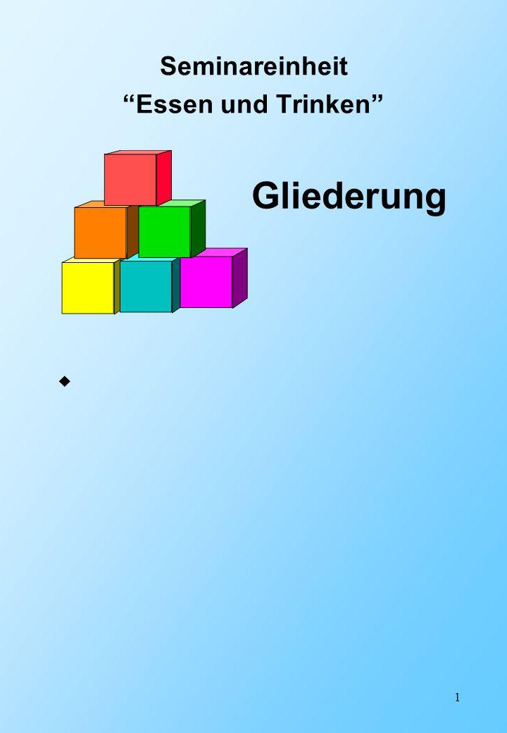 """1 Seminareinheit """"Essen und Trinken""""  Gliederung"""