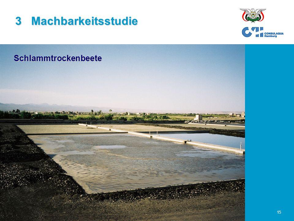 23.02.2006Abwasserwirtschaft im Großraum Sana'a15 3 Machbarkeitsstudie Schlammtrockenbeete