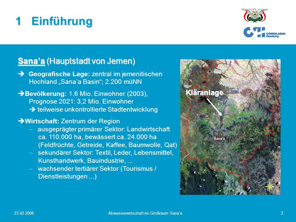 23.02.2006Abwasserwirtschaft im Großraum Sana a4 Wasserdargebot:  Niederschlag: ca.
