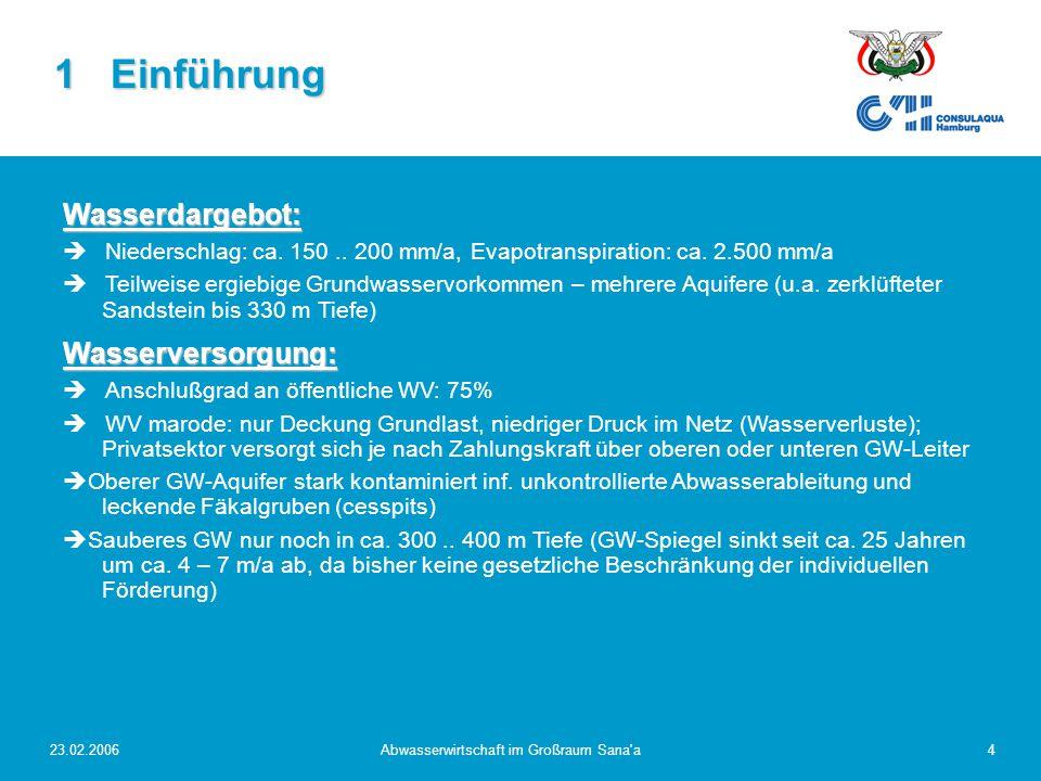 23.02.2006Abwasserwirtschaft im Großraum Sana a5 Abwasserentsorgung:   Anschlußgrad an öffentliche Abwasserentsor- gung: 40..