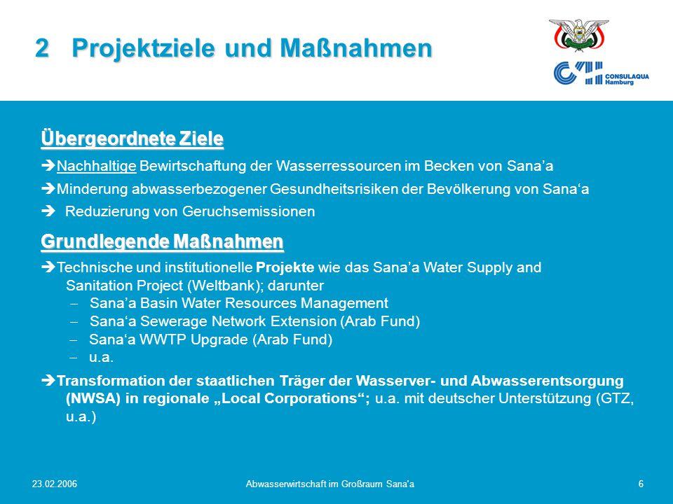 23.02.2006Abwasserwirtschaft im Großraum Sana a7 2 Projektziele und Maßnahmen Maßnahmen zur Abwasserbehandlung  Ausbau Kanalisation: zur Zeit enorme Anstrengungen !!.