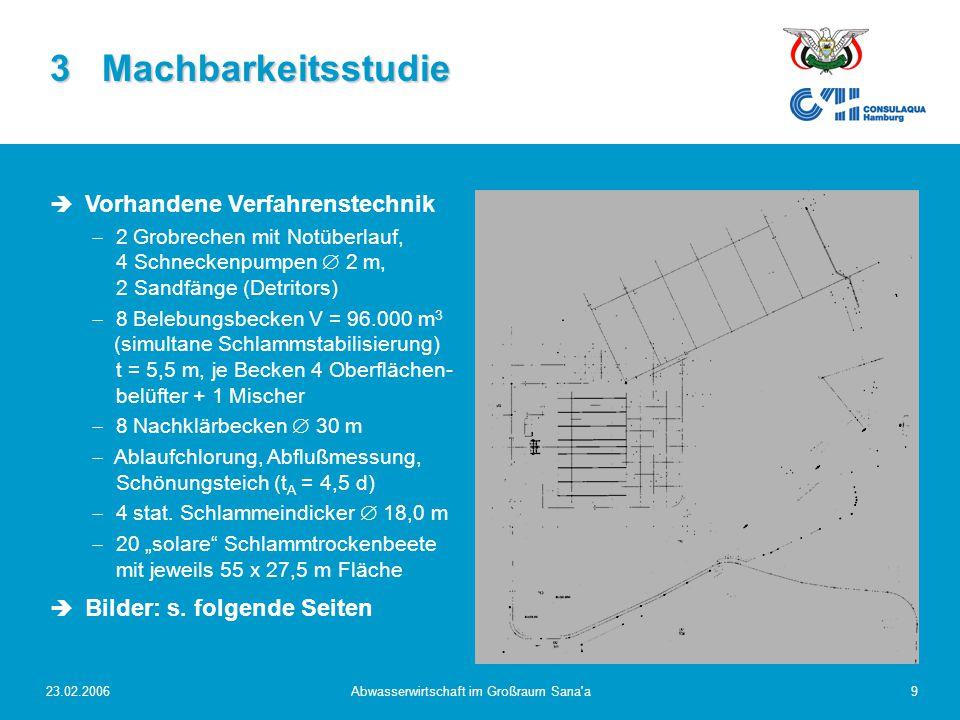 23.02.2006Abwasserwirtschaft im Großraum Sana a20 Endgültiges Entwurfskonzept neue Grobrechen, neues Zulaufpumpwerk, Feinrechen und Vorklärung  Mechanische Abwasserreinigung: neue Grobrechen, neues Zulaufpumpwerk, Feinrechen und Vorklärung (t A = 1,5 h) + hydraulisch optimal, modularer Aufbau erlaubt einfache Erweiterung + wesentlich höhere Effizienz Vorreinigung (  Betrieb Faulung) - Verlängerung Zulaufsammler, Neubau Zulaufpumpwerk Umstellung von simult.