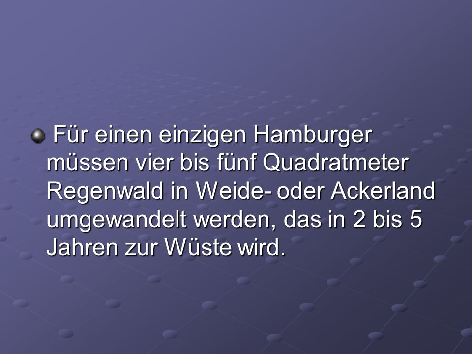 Für einen einzigen Hamburger müssen vier bis fünf Quadratmeter Regenwald in Weide- oder Ackerland umgewandelt werden, das in 2 bis 5 Jahren zur Wüste wird.