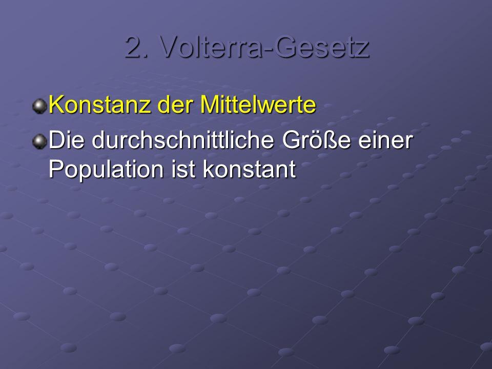 2. Volterra-Gesetz Konstanz der Mittelwerte Die durchschnittliche Größe einer Population ist konstant