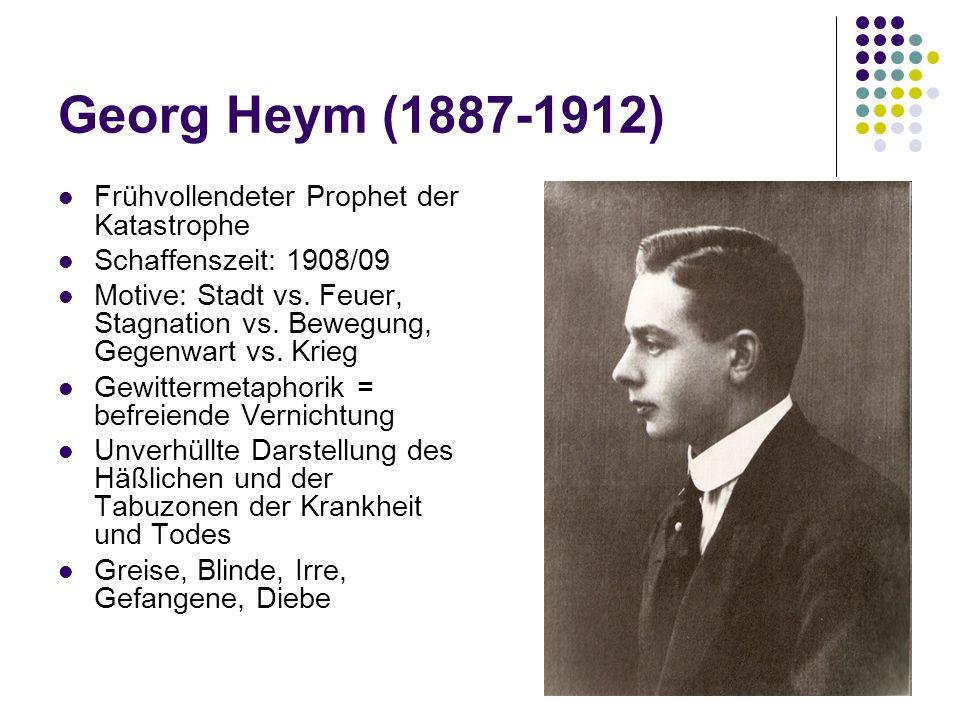 Georg Heym (1887-1912) Frühvollendeter Prophet der Katastrophe Schaffenszeit: 1908/09 Motive: Stadt vs.