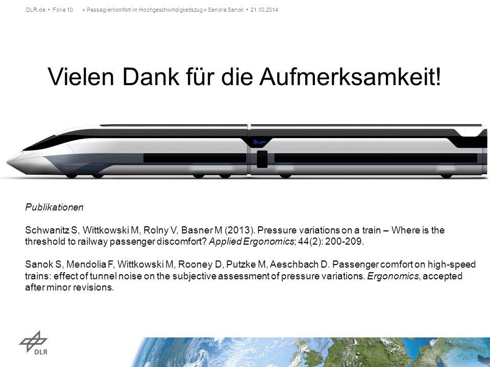 Vielen Dank für die Aufmerksamkeit! > Passagierkomfort im Hochgeschwindigkeitszug > Sandra Sanok 21.10.2014DLR.de Folie 10 Publikationen Schwanitz S,