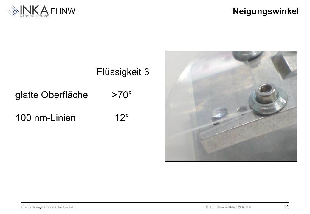 FHNW 26.9.2008Neue Technologien für innovative ProdukteProf. Dr. Clemens Holzer, 10 Neigungswinkel Flüssigkeit 3 glatte Oberfläche>70° 100 nm-Linien12