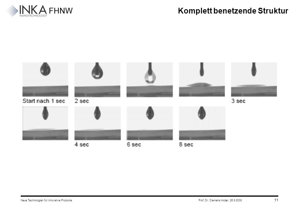 FHNW 26.9.2008Neue Technologien für innovative ProdukteProf. Dr. Clemens Holzer, 11 Komplett benetzende Struktur
