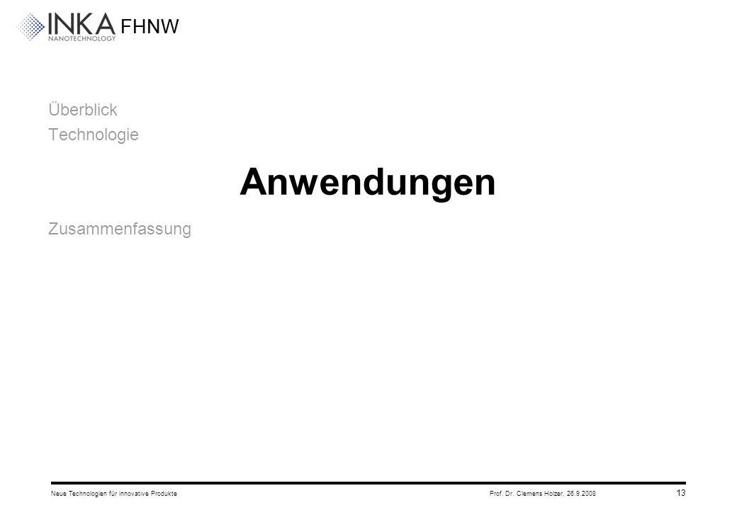 FHNW 26.9.2008Neue Technologien für innovative ProdukteProf. Dr. Clemens Holzer, 13 Überblick Technologie Anwendungen Zusammenfassung