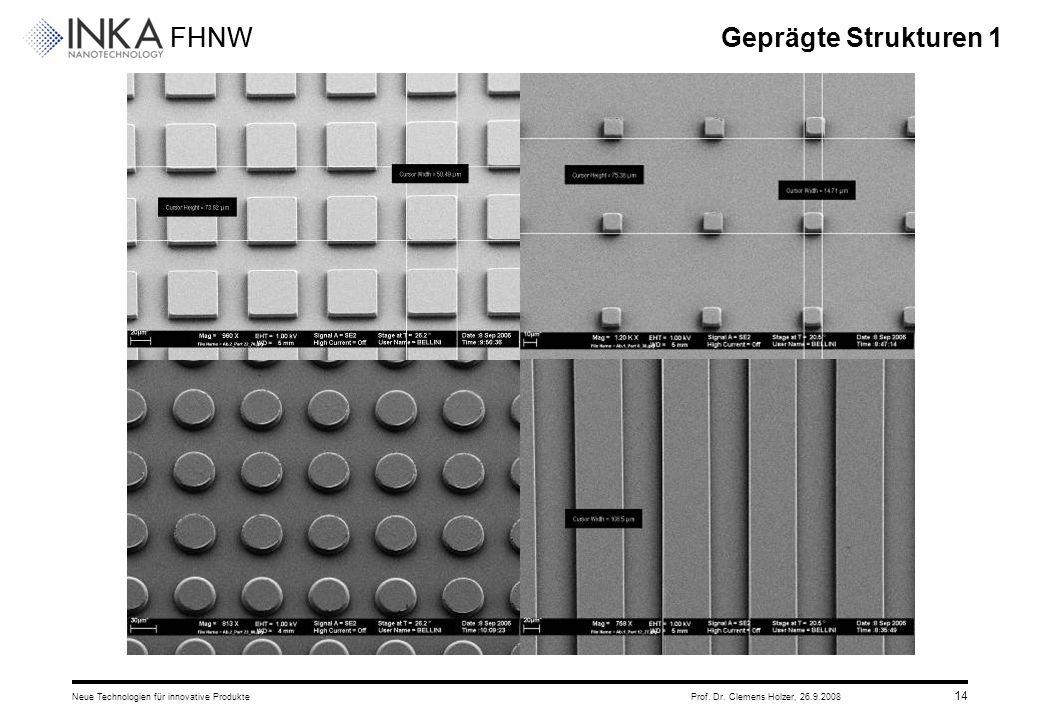 FHNW 26.9.2008Neue Technologien für innovative ProdukteProf. Dr. Clemens Holzer, 14 Geprägte Strukturen 1