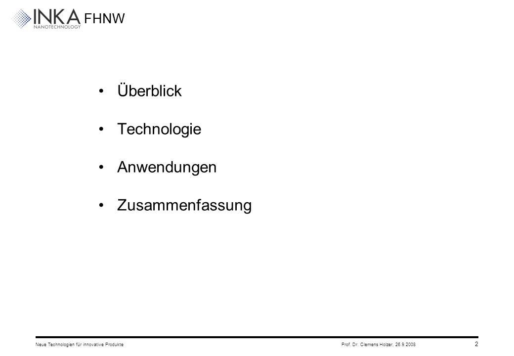 FHNW 26.9.2008Neue Technologien für innovative ProdukteProf. Dr. Clemens Holzer, 2 Überblick Technologie Anwendungen Zusammenfassung