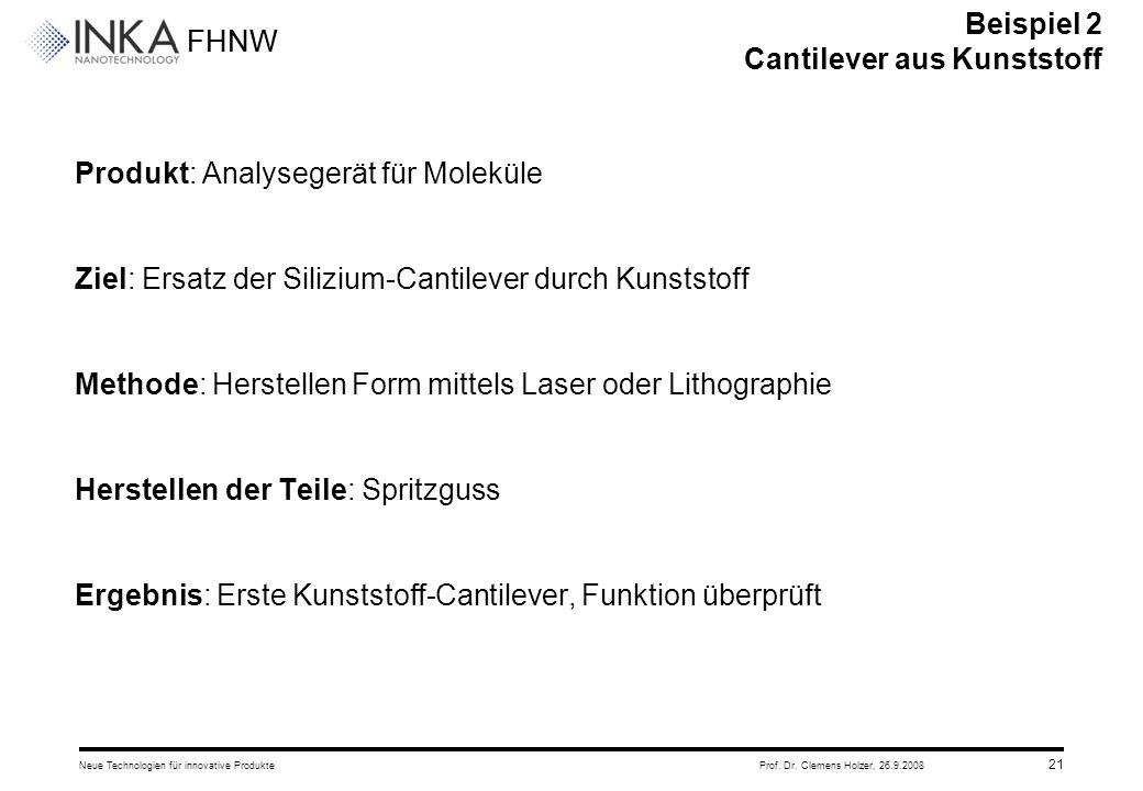 FHNW 26.9.2008Neue Technologien für innovative ProdukteProf. Dr. Clemens Holzer, 21 Produkt: Analysegerät für Moleküle Ziel: Ersatz der Silizium-Canti