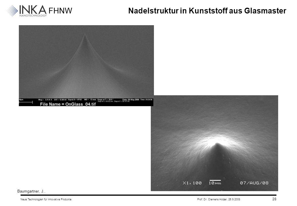 FHNW 26.9.2008Neue Technologien für innovative ProdukteProf. Dr. Clemens Holzer, 28 Nadelstruktur in Kunststoff aus Glasmaster Baumgartner, J..