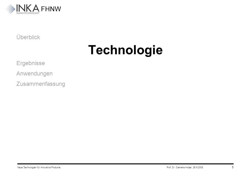 FHNW 26.9.2008Neue Technologien für innovative ProdukteProf. Dr. Clemens Holzer, 5 Überblick Technologie Ergebnisse Anwendungen Zusammenfassung