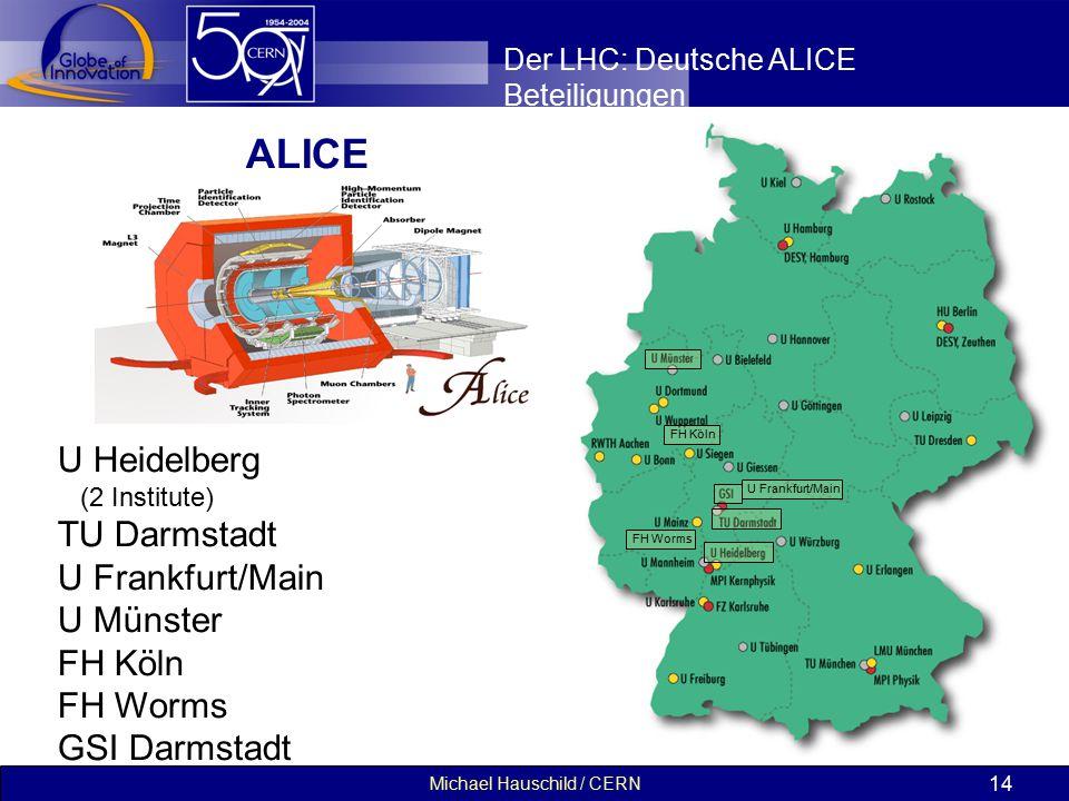 Michael Hauschild / CERN 14 Der LHC: Deutsche ALICE Beteiligungen ALICE U Heidelberg (2 Institute) TU Darmstadt U Frankfurt/Main U Münster FH Köln FH Worms GSI Darmstadt U Frankfurt/Main FH Worms FH Köln
