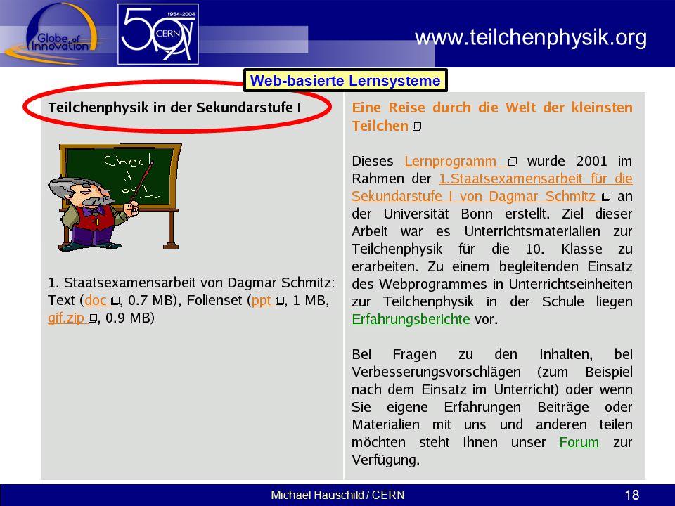 Michael Hauschild / CERN 18 www.teilchenphysik.org Web-basierte Lernsysteme