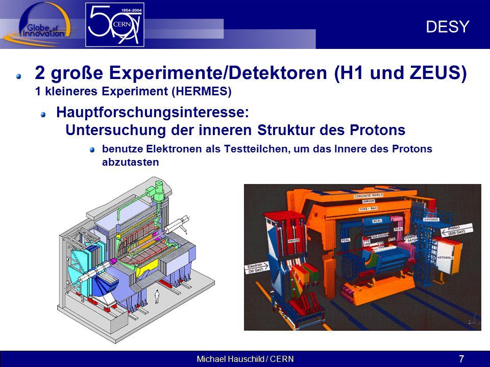 Michael Hauschild / CERN 7 DESY 2 große Experimente/Detektoren (H1 und ZEUS) 1 kleineres Experiment (HERMES) Hauptforschungsinteresse: Untersuchung der inneren Struktur des Protons benutze Elektronen als Testteilchen, um das Innere des Protons abzutasten