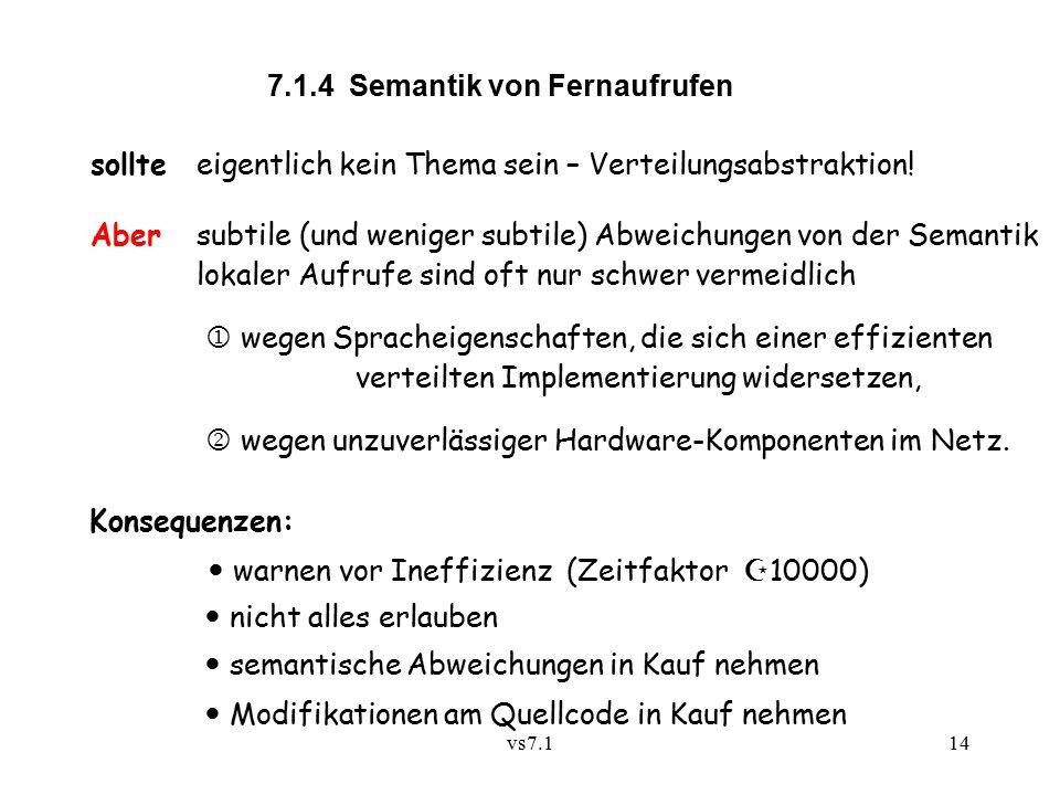 vs7.114 7.1.4 Semantik von Fernaufrufen sollte eigentlich kein Thema sein – Verteilungsabstraktion.